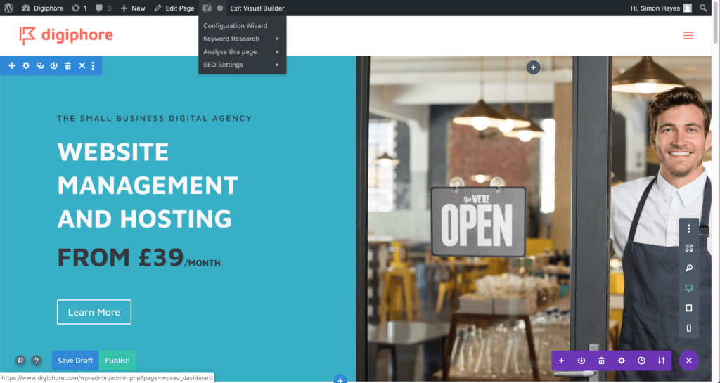 Edit your page using Divi